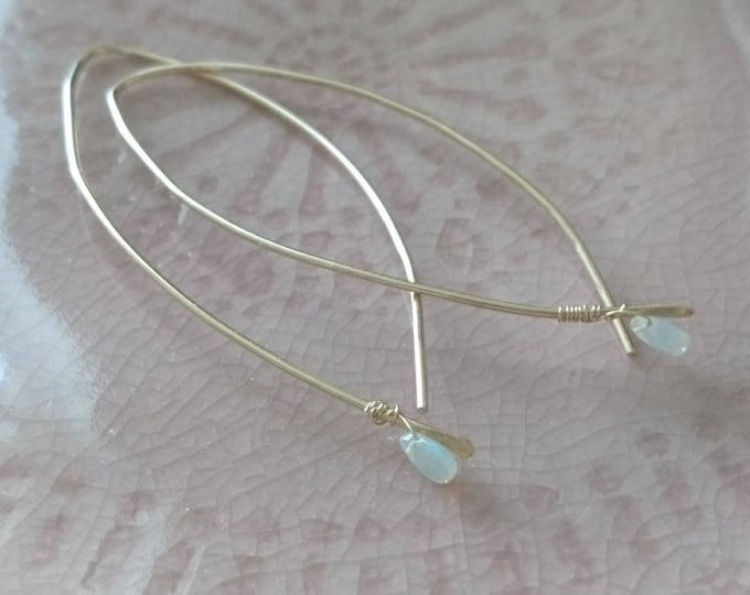 Minimal arc threader earrings with tiny opals, modern chic gift for October birthday