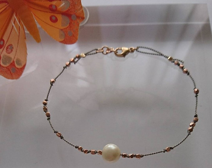 Rose gold and pearl bracelet, silk cord bracelet, June birthstone, dainty rose gold bracelet, gift for her, elegant jewellery,