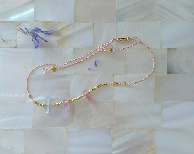 Gold vermeil skinny bracelet with watermelon tourmaline and aquamarine tiny baguettes perfect for stacking