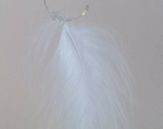 Feather earrings with crescent moons, one of a kind Christmas jewellery