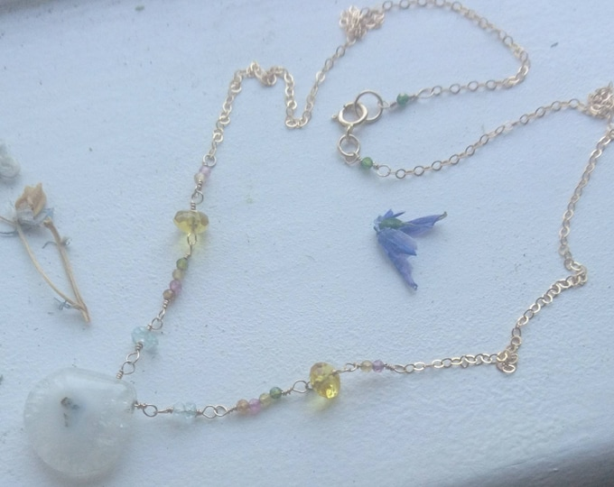 Multi gemstone necklace, watermelon tourmaline, aquamarine and citrine 14k gold fill chain, boho babe