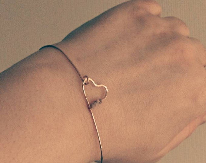 Raw diamond skinny rose gold heart bangle, April gift for her birthday, flower girl accessories, bridesmaid jewellery, gifts for girls