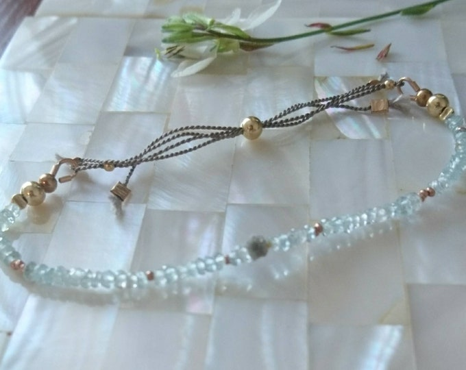 Bracelet  for stacking, Aquamarine and raw diamond bracelet, March birthstone, friendship bracelet, sliding clasp bracelet,boho luxe