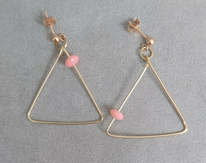 Triangle earrings, coral jewellery, studs with hoops, summer 2020