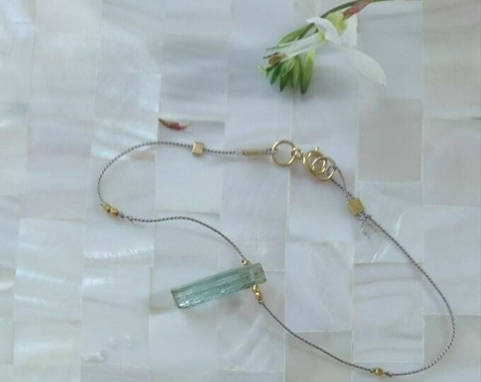 Raw aquamarine bracelet, March birthstone jewellery, blue crystal minimal bracelet, gemstone silk cord jewelry, boho luxe jewellery, chic