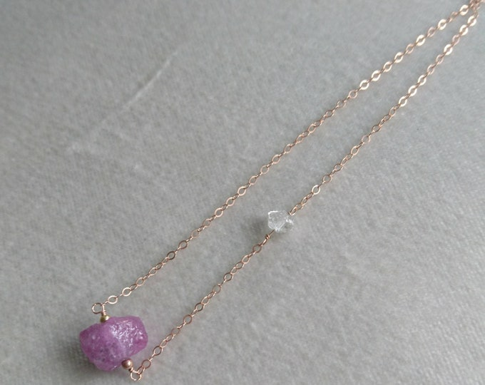 Raw Pink sapphire necklace with herkimer diamonds, boho luxe, September birthstone jewelry , sapphire jewelry, chic minimal necklace, dainty