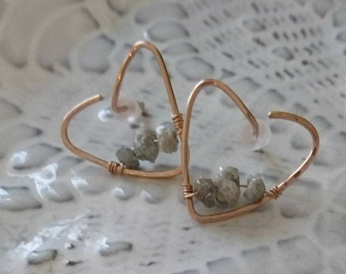 Raw diamond heart earrings valentines gift for her, April birthday gift for her, unique earrings,