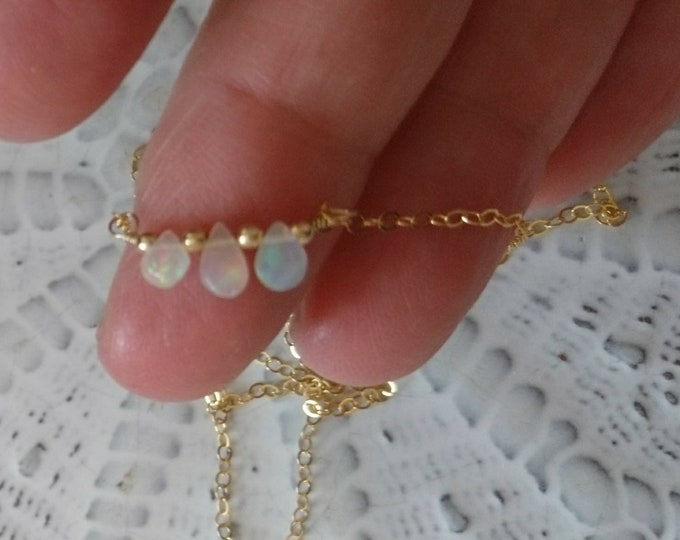 Tiny three opal bar necklace in 14k gold fill chain and smooth 14k gold fill beads