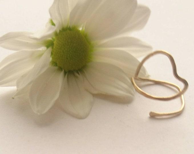 Adjustable ring, modern open heart ring,