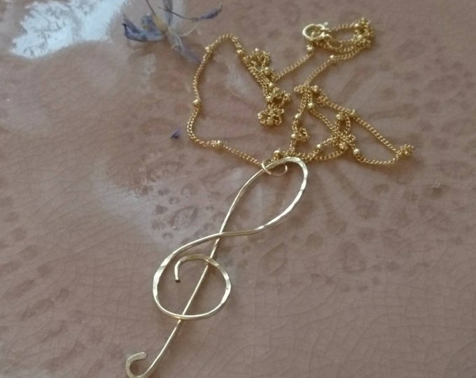 Musical note necklace, hammered pendant, gold fill jewellery, satellite chain jewelry, boho luxe Christmas gift for her