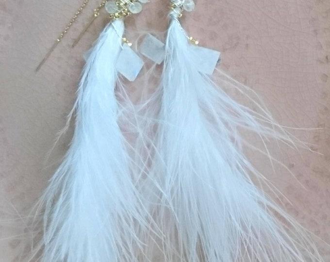 Party earrings, Bridal earrings, romantic feather and moonstone threader earrings, glamorous jewellery