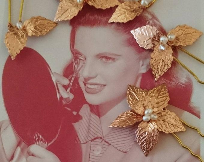 12 Rose gold leaf hairpins,Greek goddess hair accessory, woodland wedding,boho bride hairpins,rustic wedding, festival jewelry autumn bride,