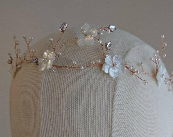Pearl tiara bride, woodland wedding, boho crown, Titania's dream, pearl and Swarovski crown, princess accessory, fairy princess, birthday