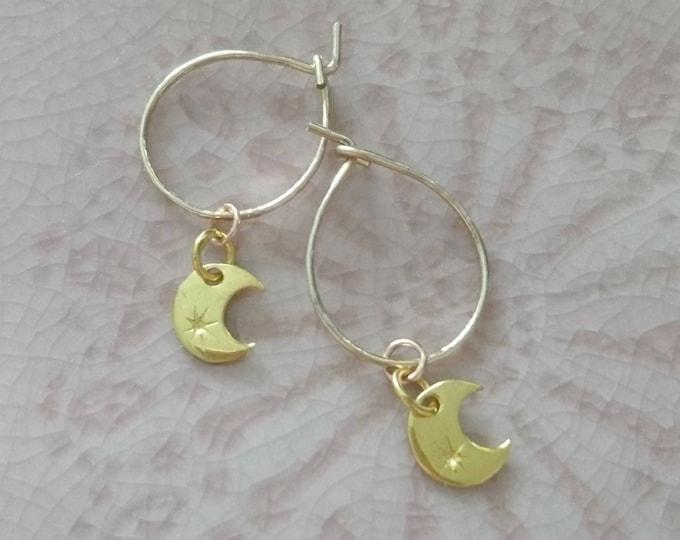 Moon charm tiny hoops, dainty hoop earrings, celestial drop earrings, minimal style, stocking filler, Halloween accessories, gift for her