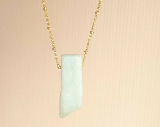Raw aquamarine necklace on 14k rose gold filled chain, gemstone pendant, March birthstone gift for her birthday, Christmas gift for her