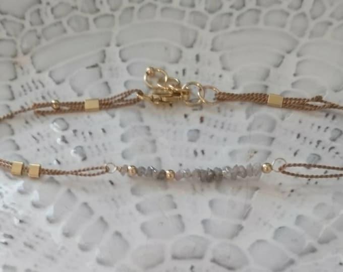 Silk cord bracelet with raw diamonds, April birthstone, minimalist jewellery, April birthday gift for her, anniversary, special occasion,
