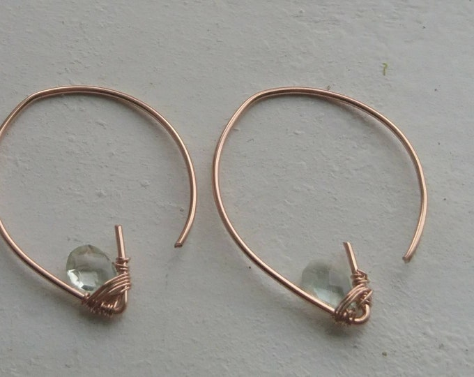Faceted aquamarine open hoops