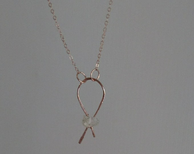 Rough opal pendant on 14k rose gold filled chain, October birthstone gift for her