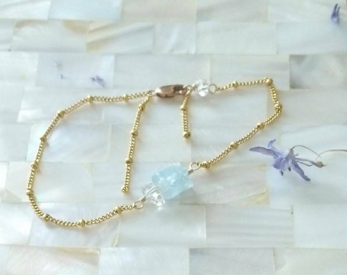 Aquamarine bracelet with herkimer diamond satellite chain, stacking bracelet with March birthstone,