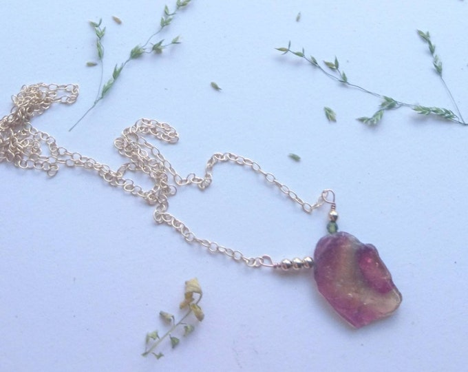 Watermelon  tourmaline necklace, gemstone slice jewellery, one of a kind, unique jewellery