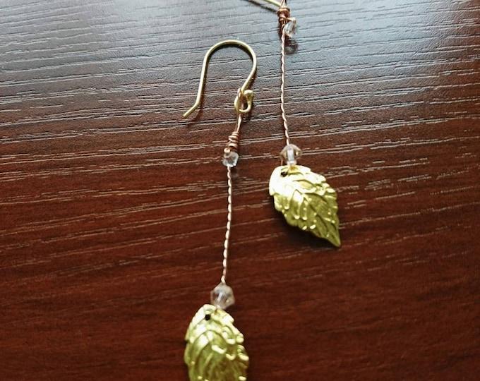 Gold leaf earrings, Greek goddess jewellery, Greek costume, woodland wedding, rustic theme wedding, boho bride jewellery, Grecian earrings,