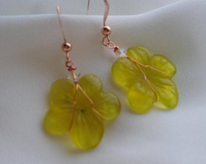 Serpentine flower earrings, summer days, flower girl, flower jewellery, boho girl, gift for her, one of a kind