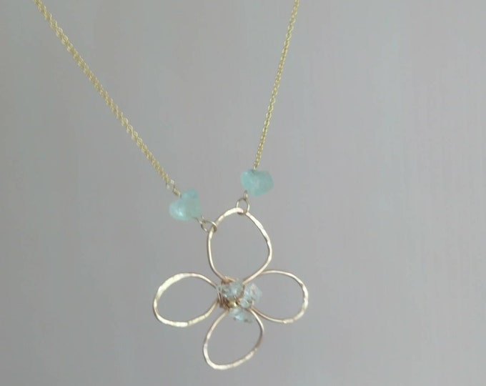 Flower pendant with herkimer diamonds, aquamarine necklace, summer jewellery