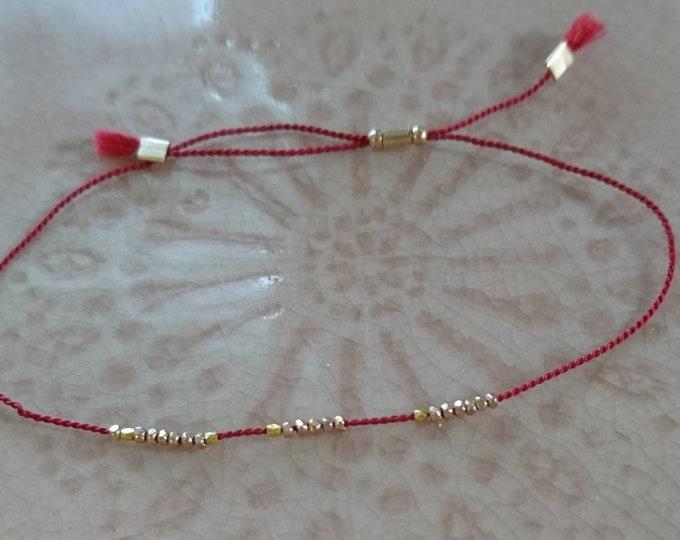 Rose Gold vermeil beads dainty silk bracelet,layering jewelry,cord jewelery,simple friendship bracelet, boho chic bracelet gift for her