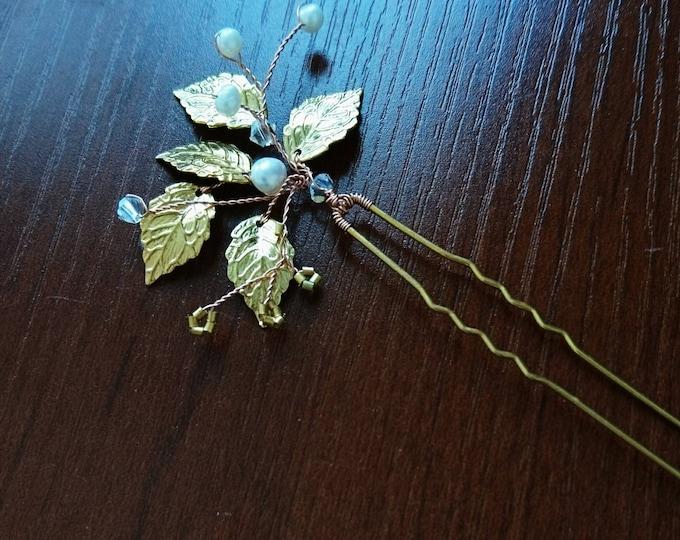 Gold leaf hairpins with freshwater pearls and Swarovski crystals, woodland wedding, Grecian goddess,