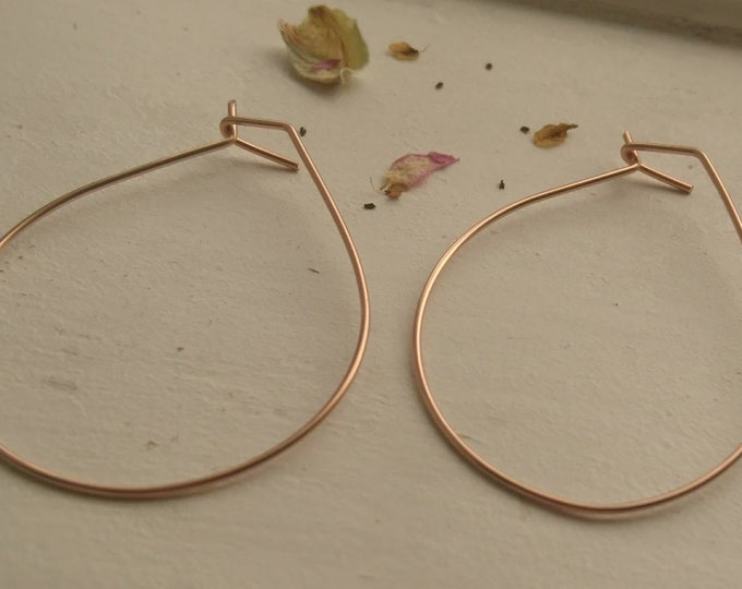 Geometric rose gold hoops