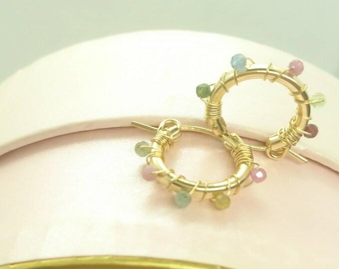 Huggies hoops with watermelon tourmaline, gemstone earrings in 14k gold fill