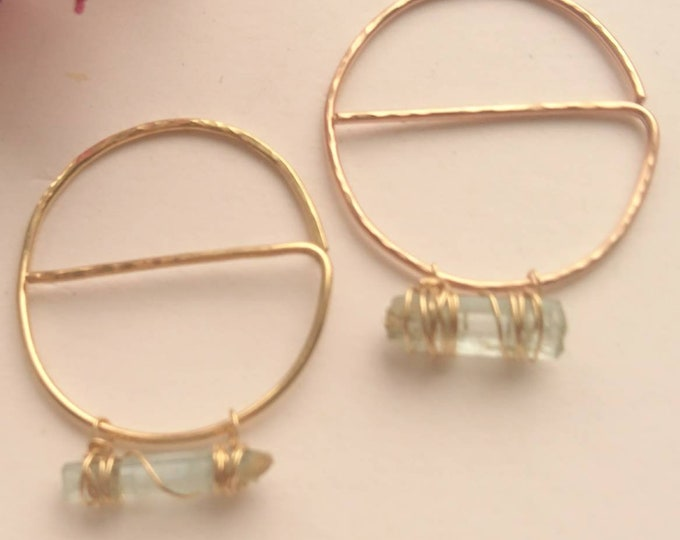Geometric threader earrings in 14k rose gold fill, raw aquamarine hoops