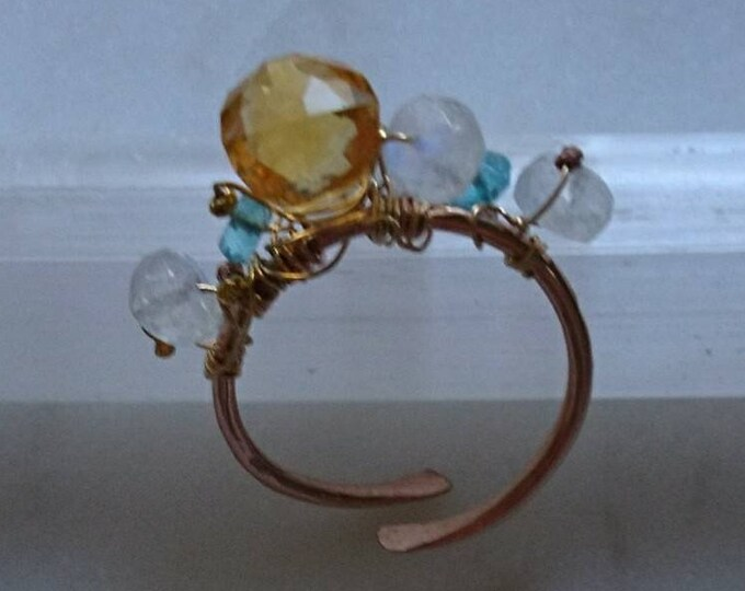 Multi gemstone ring, citrine, apatite and moonstone cluster ring,November birthday gift for her, birthstone November, unique ring, Christmas