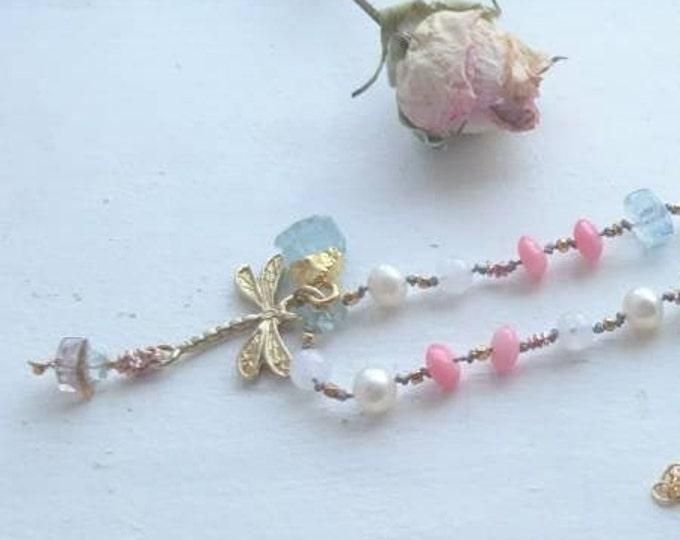 Mala beads 108 necklace/wrap bracelet with aquamarine, moonstone, watermelon tourmaline