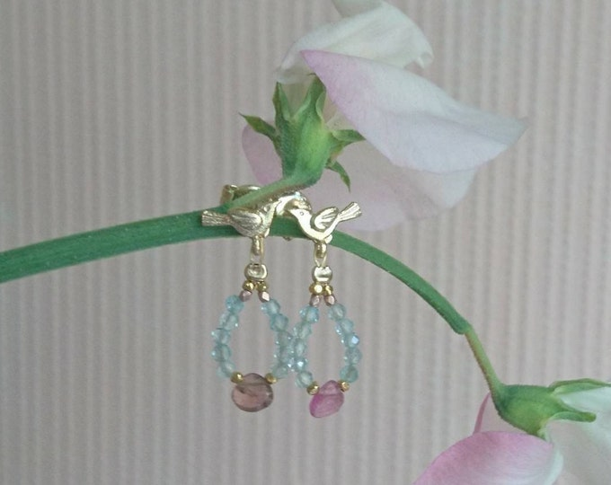 Gold vermeil bird earrings with watermelon tourmaline drops, multi gemstone jewelry, pretty summer earrings