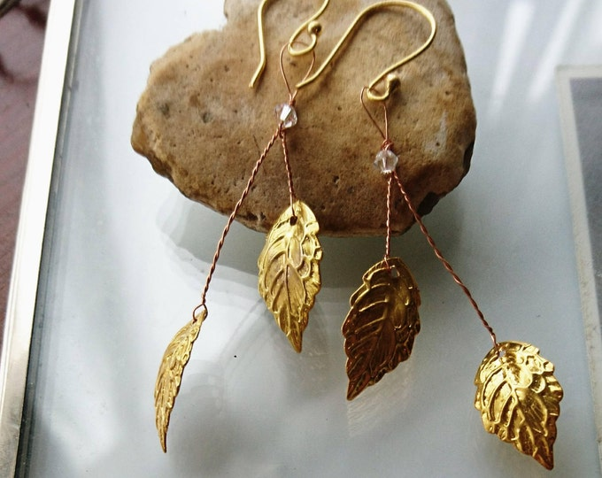Grecian goddess earrings, gold leaf jewellery,festival jewellery, festival fashion,  gold dangle earrings, summer party,gift for her