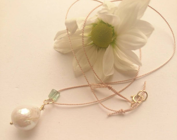 Cord necklace with pearl drop and green tourmaline, silk cord jewelry, June birthstone