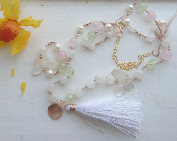 Mala necklace, wrap bracelet with 108 beads for meditation