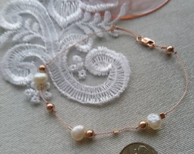 Silk cord pearl and rose gold bracelet, wedding jewellery, silk cord jewellery, dainty, bridal jewellery, gift for her, minimalist