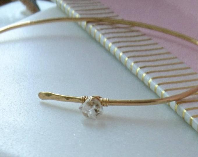Gold open bangle Herkimer diamond, herkimer diamond bracelet,simple elegant cross over bangle,gift for her,modern jewelry by pass bracelet,