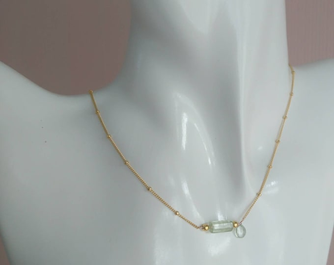 Aquamarine and heliodor on 14k gold fill satellite chain with gold vermeil beads