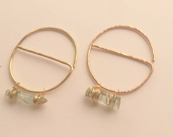 Geometric threader earrings in 14k rose gold fill, raw aquamarine hoops
