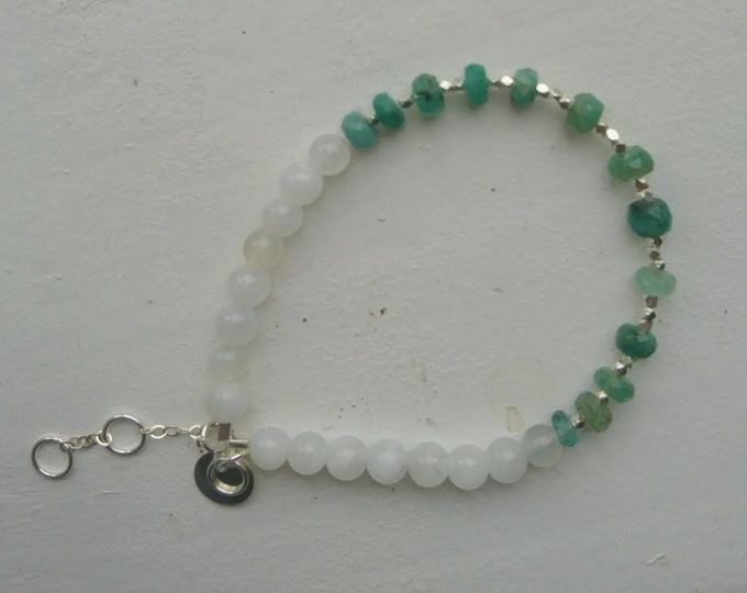 Raw emerald bracelet with moonstone and sterling silver nuggets