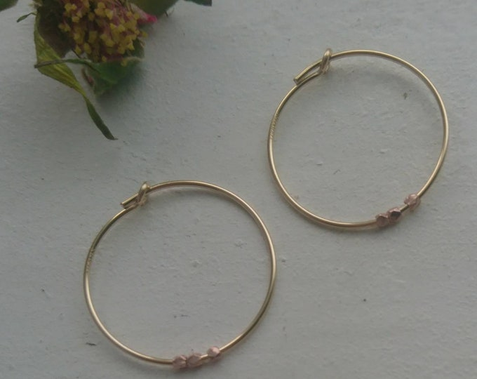 Minimal hoops with rose gold vermeil style nuggets
