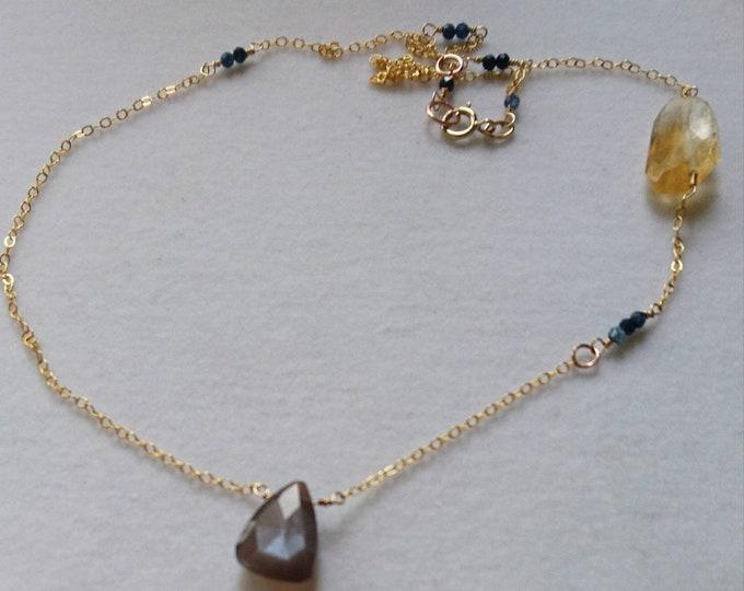 Multi gem necklace,Sapphire, citrine, chocolate moonstone gold necklace,  sapphire necklace with citrine and moonstone, multi gem jewellery,
