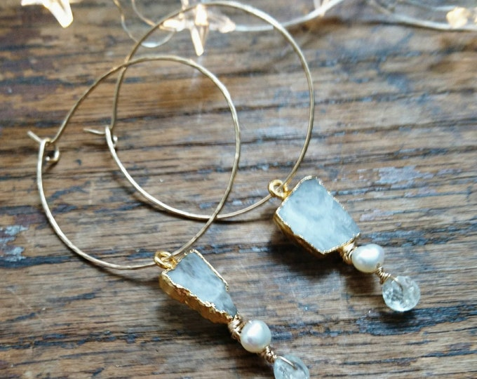 Hoop earrings moonstone,gold filled hoops with aquamarine and pearl, June birthday, boho luxe jewellery, gift for her, statement earrings