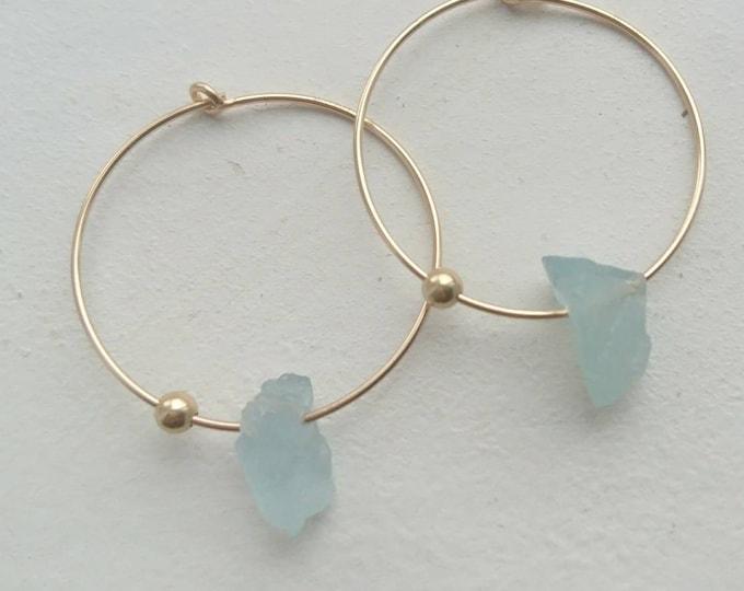 Aquamarine earrings, March birthstone gift for her, raw aquamarine hoops