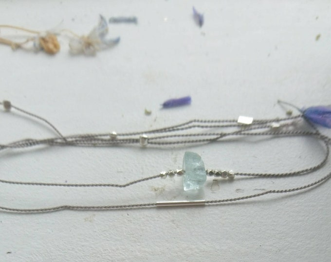 Set of two silk cord bracelets with sterling silver and raw aquamarine, best friend gift, stacking bracelets