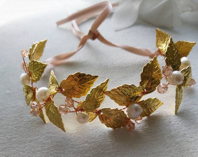 Greek goddess bracelet, woodland wedding, autumn jewelry, fall jewelry, rustic wedding,gold leaf jewellery,gold leaves and pearls