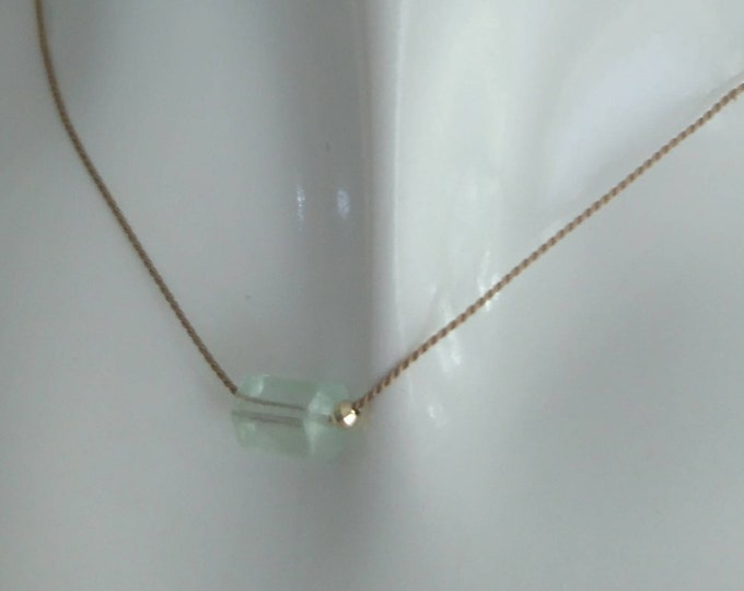 Aquamarine necklace on silk cord with 14k gold disco bead